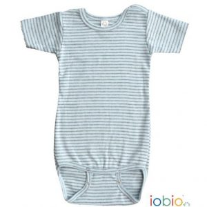 Body cotone IoBio PoPoLiNi mezza manica - Blu Grey Striped