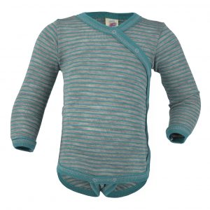 Body lana/seta Engel manica lunga incrociato - Light grey melange ice blue