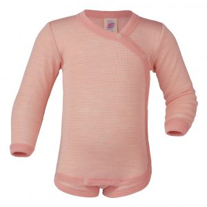 Body lana/seta Engel manica lunga incrociato - Salmon Natural