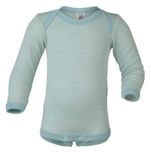 Body lana e seta ancgel manica lunga scollo all'americana Glacer Natural