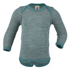 Body lana/seta Engel manica lunga scollo all'americana - Light grey melange ice blue