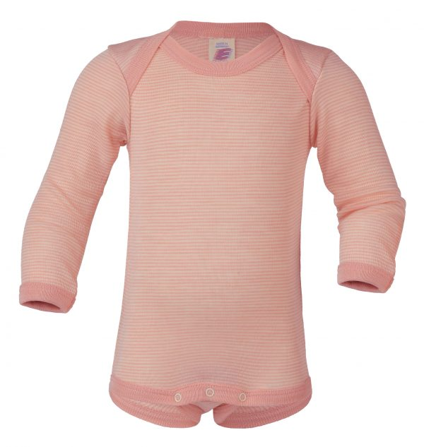 Body lana/seta Engel manica lunga scollo all'americana - Salmon Natural