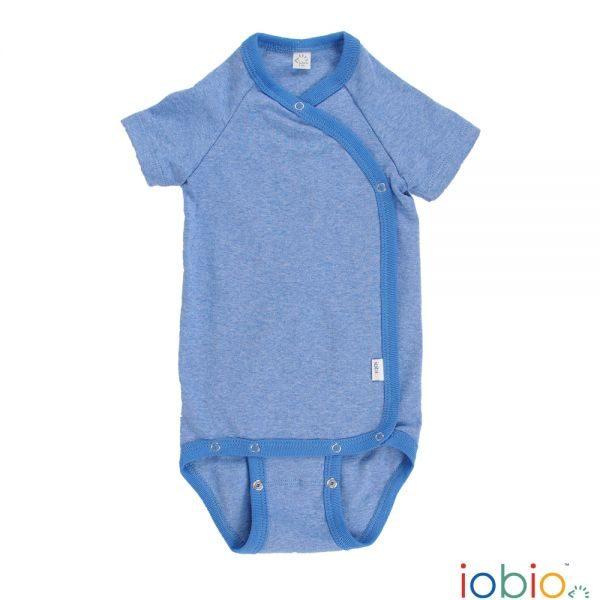 Body cotone IoBio PoPoLiNi incrociato mezza manica - Blu Melange