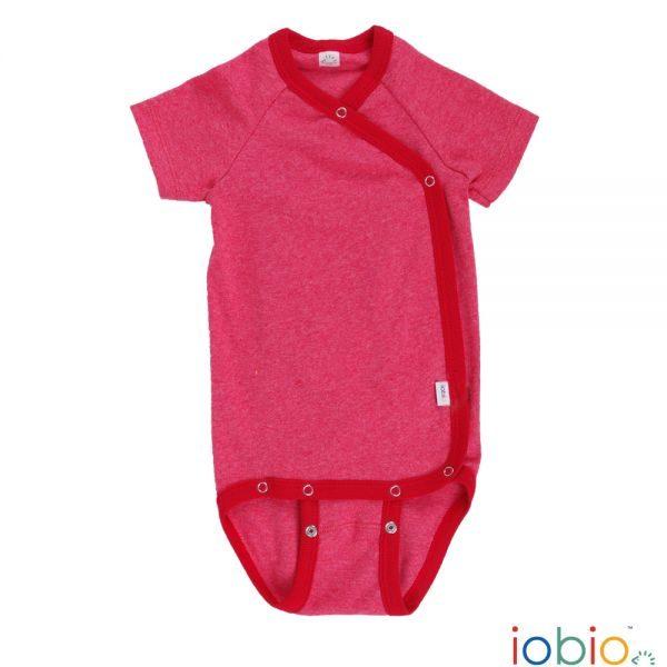 Body cotone IoBio PoPoLiNi incrociato mezza manica - Rosso