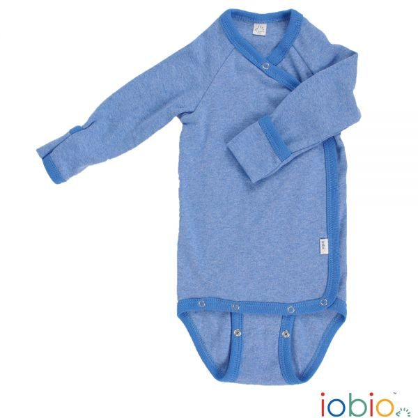 Body cotone IoBio PoPoLiNi manica lunga incrociato blu melange