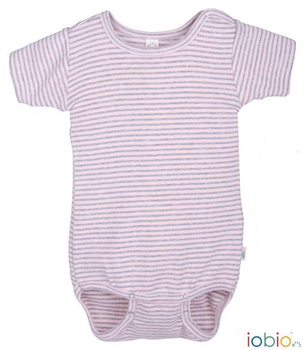 Body cotone IoBio PoPoLiNi mezza manica - Rose Grey Striped