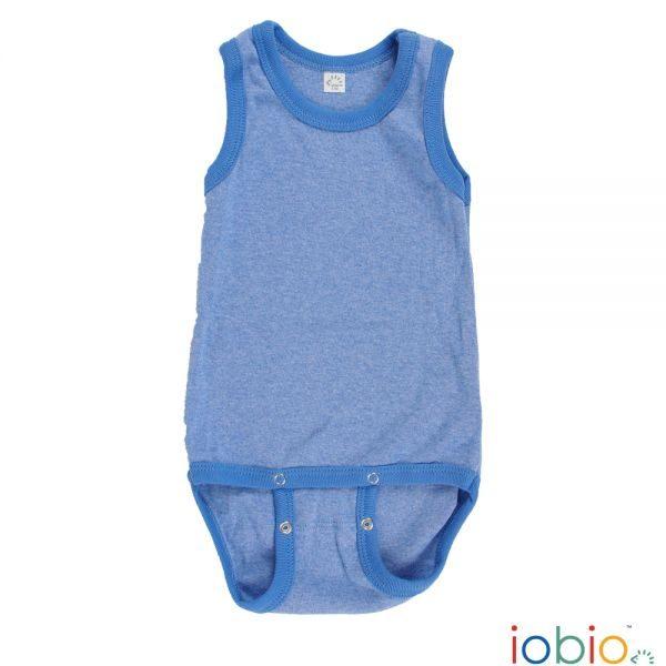 Body cotone IoBio PoPoLiNi senza manica - Blu Melange