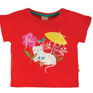 shirt rossa con gattino