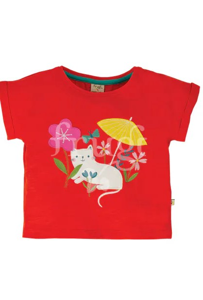 shirt rossa con gattino